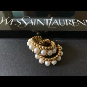 YSL Pearl Hoop Earrings